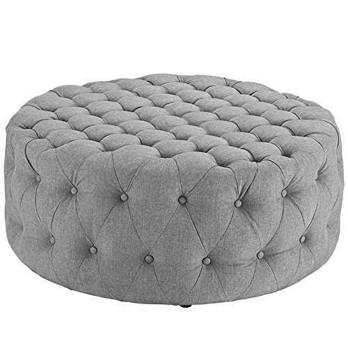 (Modway Amour Fabric Upholstered Button-Tufted Round Ottoman in Light Gray)
