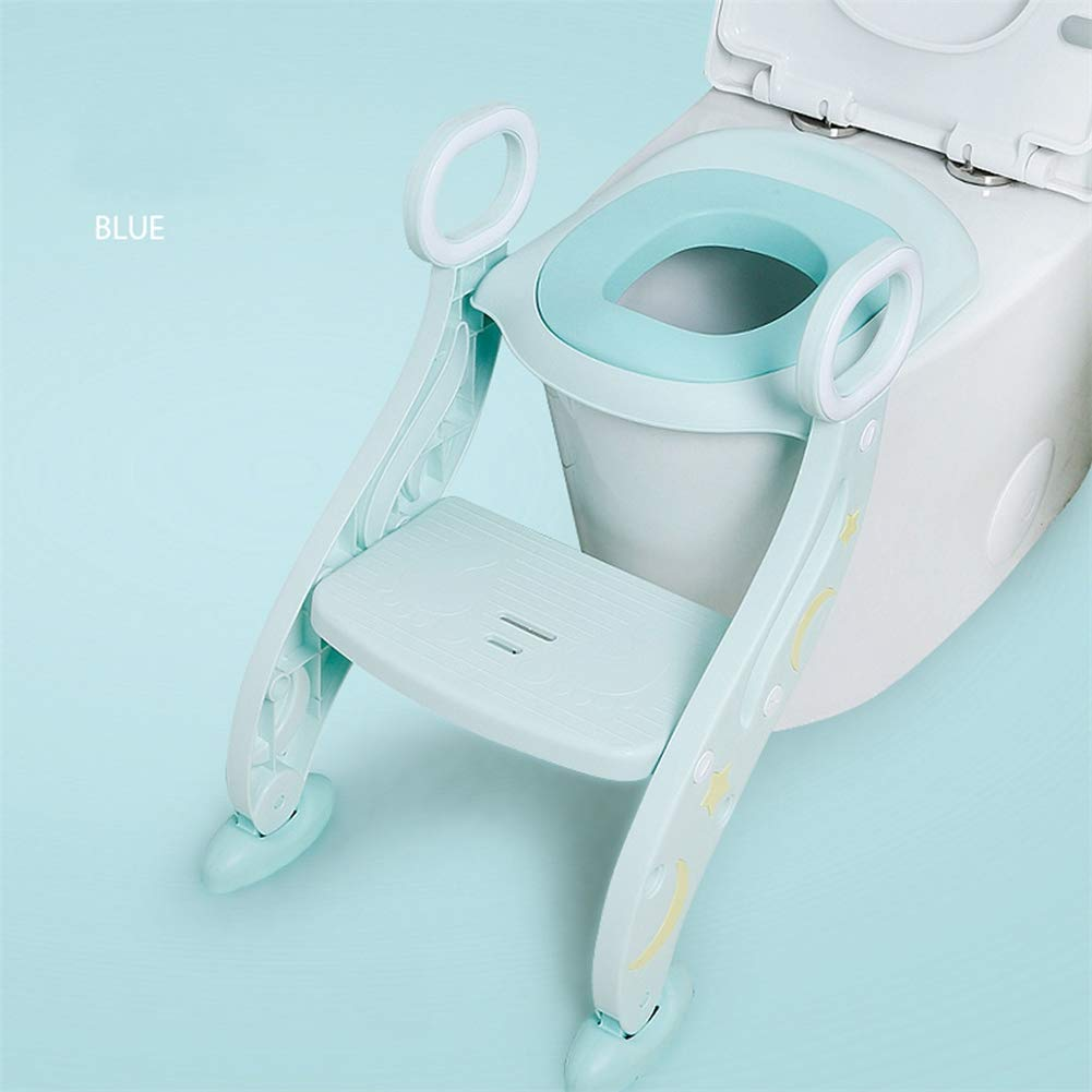 Portable Potty Trainer Seat, Adjustable Toddler Child Toilet Trainer with Step Stool Ladder, Anti-Slip,Blue by HB Toilet Stool