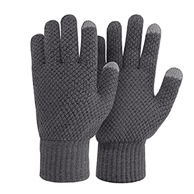 Bodvera Winter Touchscreen Warm Wool Lined Knitted Gloves for Men/Women- Texting for Smartphones
