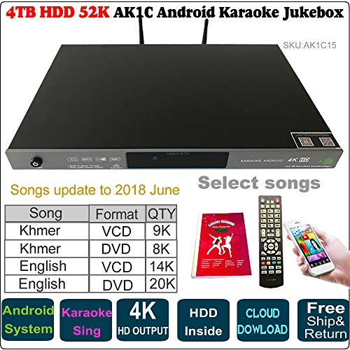 52k Players - 4TB 52K English VCD,DVD+Khmer/Cambodian VCD,DVD Songs Android Karaoke Player, Jukebox, Songs Update to 2018 June,Remote Controller,Songbook Included AK1C