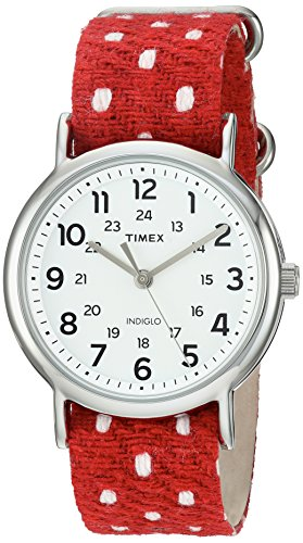 Fabric Over Leather (Timex Unisex TW2R104009J Weekender Red Polka Dot Fabric Over Leather Slip-Thru Strap Watch)