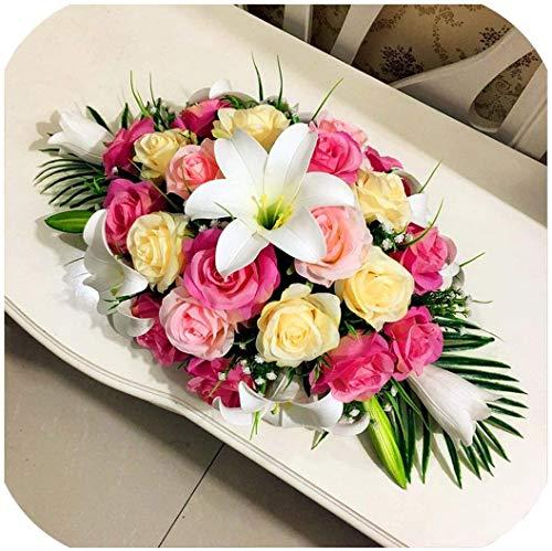 DIY Wedding Decor - Camino de mesa de flores artificiales, diseno de filas de flores, centros de mesa de centro de mesa con peonias de lirio rosa, 80 cm, color rojo