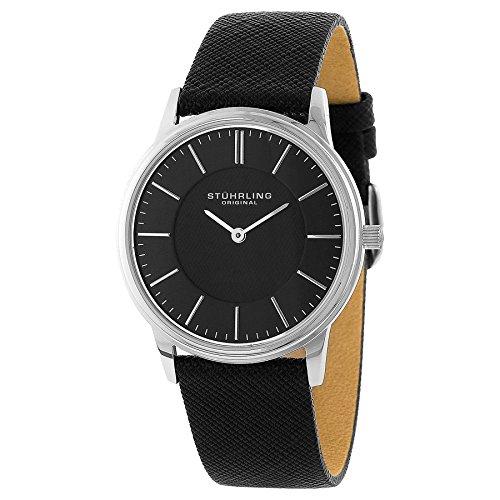 Stuhrling Original Men s 238.32151 Classic Ascot Newberry Quartz Super Slim Black Leather Strap Watch