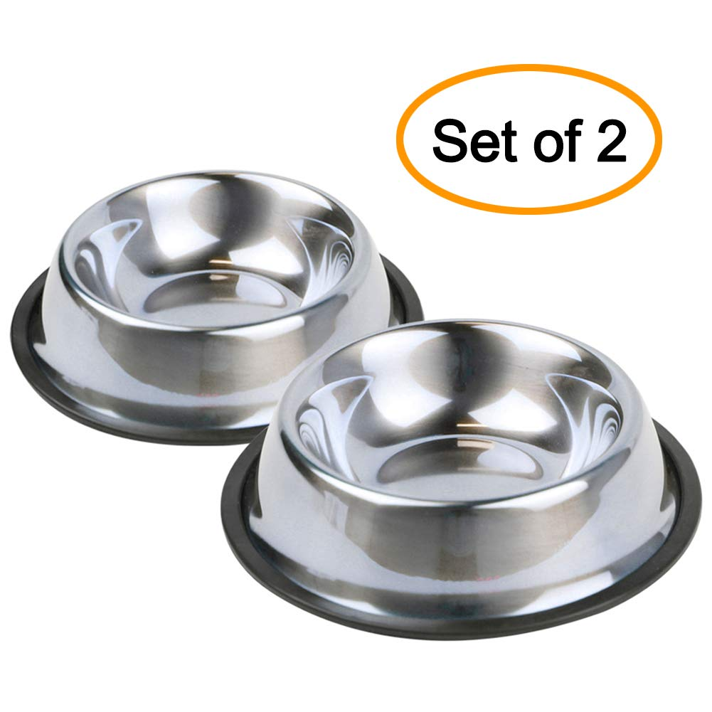 Nuheby Dog Bowls Stainless Steel Pet Food Feeder Water Bowl for Small Medium Dogs, Set of 2 (Middle)