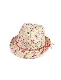 ShiningLove Cute Women Fedoras Flamingo Printing Round Top Paper Cloth Cap Summer Hat