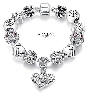 21 cm Bracelet Style Pandora Charm Coeur Cristal Argent 925 Blanc ...