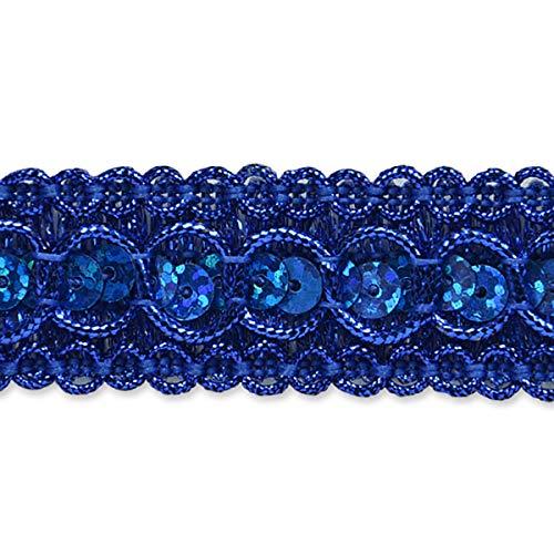 (Trish Sequin Metallic Braid Trim Royal Blue )