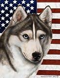 Siberian Husky Grey – Best of Breed Patriotic II Large Flags