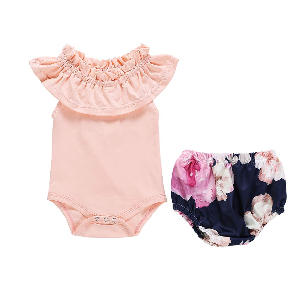 NUWFOR Newborn Infant Kid Baby Girl Ruffles Romper Jumpsuit+Floral Shorts Pants Outfits (Pink,12-18 Months)