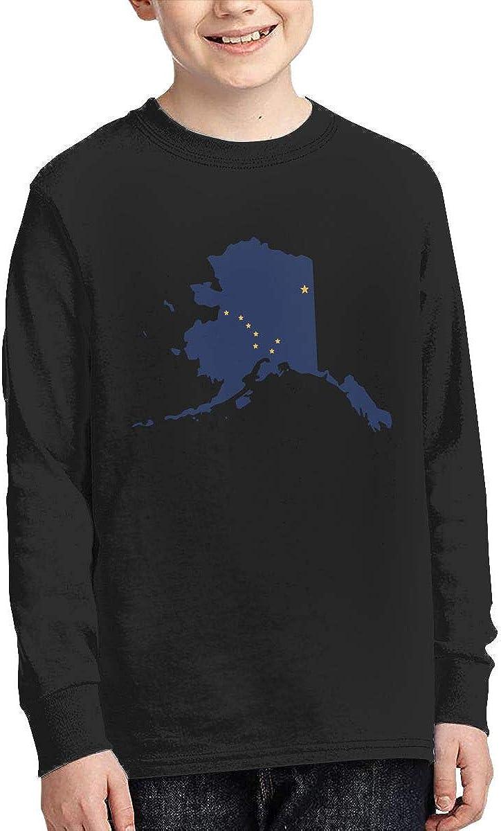 Teenagers Teen Girl Flag Map of Alaska Printed Long Sleeve 100/% Cotton Tops