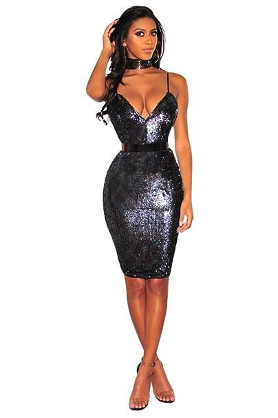 Amazon.com  M.Brock Womens Sequin Glitter V Neck Sleeveless Bodycon Mini  Dress Party Club Dress  Clothing afe5fcbbb