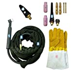 WeldingCity TIG Welding Torch 150A 25-ft Flex-Head Air-Cool WP-17F Replacement for Lincoln PTA-17 w/Gift