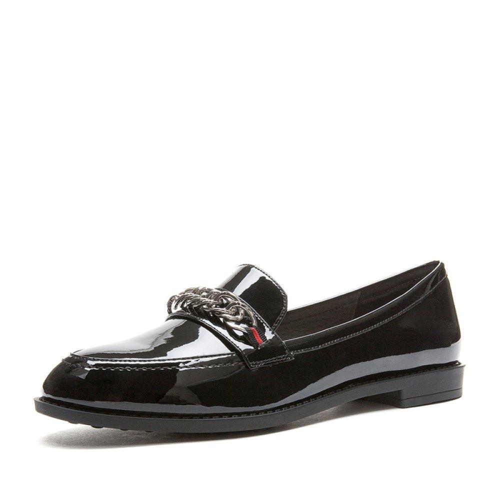DHG Frühlings-Süße Schönheits-Schuhe, Shoes, Nette Dame Ribbon White Shoes, Schönheits-Schuhe, Tiefe Vorderrundkopf-Schuhe, Flache Schuhe,Schwarz,39 - e9fcdf