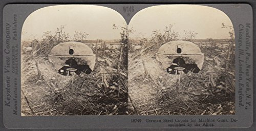 WWI stereoview German Machine gun cupola destroyed by Allied guns France - German Wwi Gun Machine