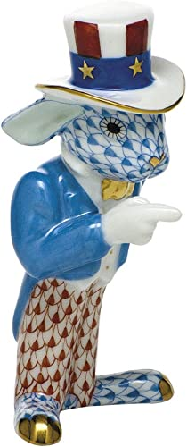 Herend Patriotic Bunny Rabbit Porcelain Figurine Multicolor