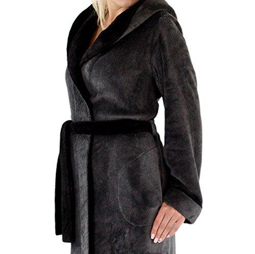 Leverie -  Accappatoio  - Collo sciallato  - Maniche lunghe  - Donna grigio scuro/nero XX-Large