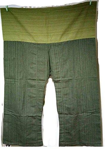 2 Tone Thai Fisherman Pants Yoga beach Trousers Free Size, Dark Green/ (Waisted Vase)