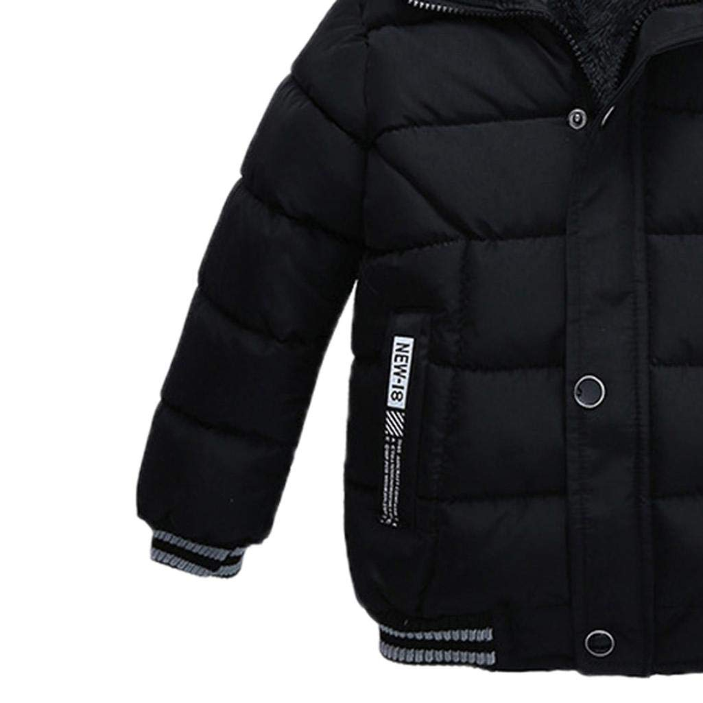 Kehen Kids Toddler Boy Girl Winter Fur Hooded Trench Coat Warm Down Jacket Thick Outerwear (Black, 2T) by Kehen (Image #3)