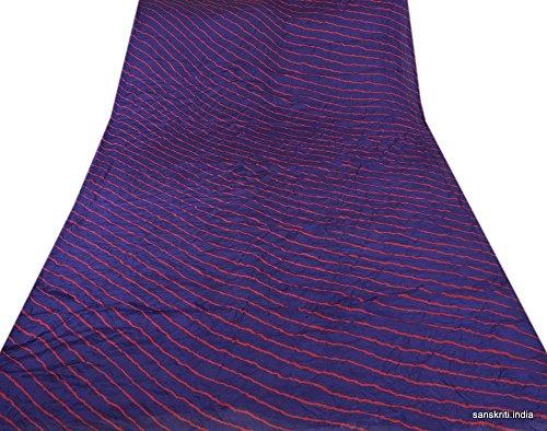 Silk Skirt Stripe (Skirts 'N Scarves New Blue Pashmina Saree In Leheria Stripe Design Craft Sari Fabric)