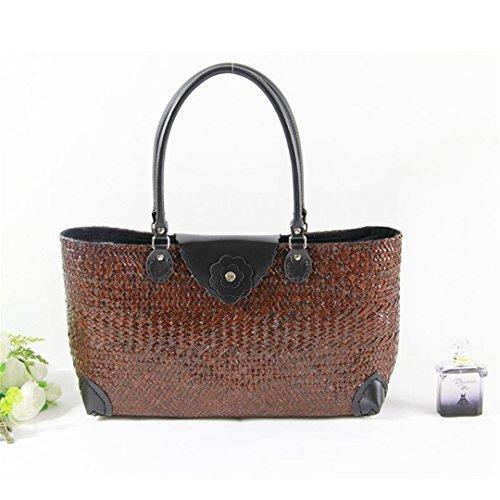 AñOs VersióN Tailandesa De The Straw Bag Bolso para Mujer Rattan Bread Package Tourism Resort Paquete De Playa As06Huang AS06kafei