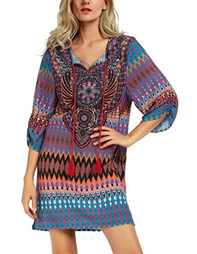 Women Bohemian Neck Tie Vintage Printed Ethnic Style Summer Shift Dress (2XL, pattern 7)