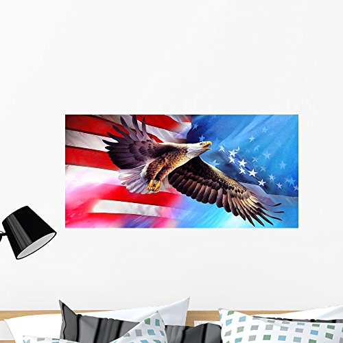American Eagle Flag Spencer Williams Wall Mural by Wallmonkeys Peel and Stick Graphic (36 in W x 18 in H) WM49152