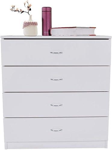 Binlin 4-Drawer Dresser, Soft White Finish Chest of Drawers, Wood Storage Organizer Unit for Bedroom