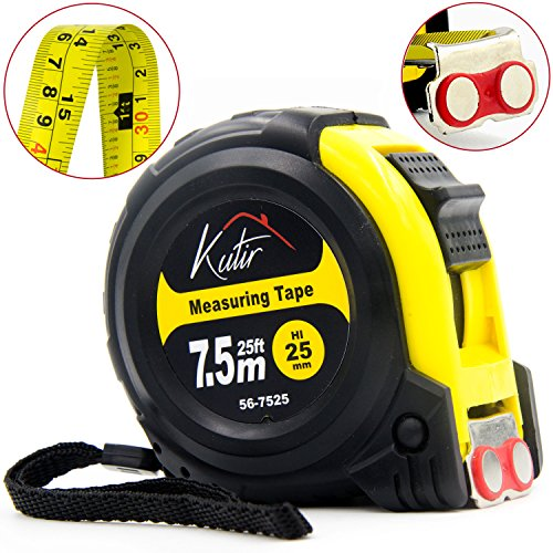 Measuring Tape Measure By Kutir - EASY TO READ 25 Foot BOTH SIDE DUAL RULER, Retractable, STURDY, Heavy Duty, MAGNETIC HOOK, Metric, Inches and Imperial Measurement, SHOCK ABSORBENT Solid Rubber Case (Ruler Tape)