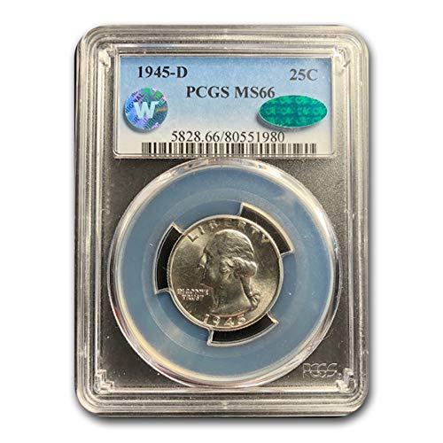 1945 D Washington Quarter MS-66 PCGS CAC Quarter MS-66 PCGS