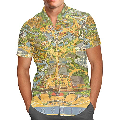 Mickey Mouse Hawaiian Shirt - Disneyland Vintage Map Mens Button Down Short Sleeve Shirt - 2XL Yellow