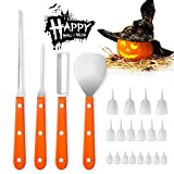 Angmart 4PCS/Set Pumpkin Carving kit and 18PCS Glow in The Dark Pumpkin Teeth Stainless Steel Food Carving Knife Baking Kitchen Tools