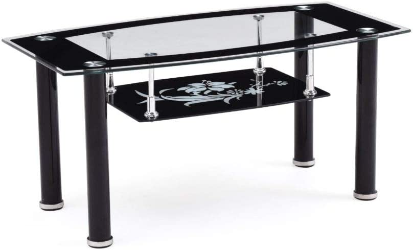 Hodedah Two Tier Rectangle Tempered Glass Coffee Table, Black: Kitchen & Dining