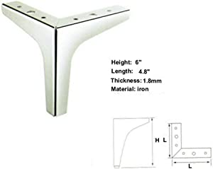 """6"""" Height Straight Metal Chrome Sofa Legs Replacement Parts, Set of 4"""