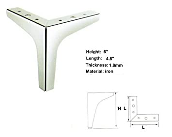 Charming 6u0026quot; Height Straight Metal Chrome Sofa Legs Replacement Parts, ...