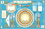 Tot Talk Table Setting & Etiquette Educational Placemat for Kids, Washable and Long-Lasting