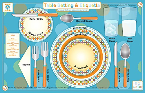 (Tot Talk Table Setting & Etiquette Educational Placemat for Kids, Washable and)