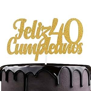 Feliz Cumpleaños 40º cumpleaños Cake Topper – Oro Glitter ...