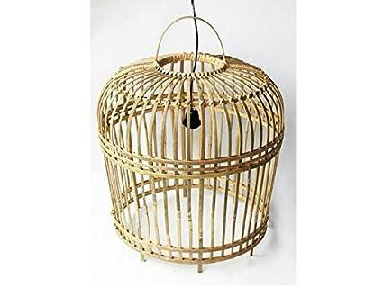 Moderne Bambus Hangelampe D54cm H54cm Farbe Natur Schwarzes