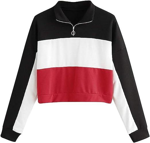 Tops Camisa Mujeres, xinantime – Sudadera de manga larga con rayas y camisas – Sudadera para mujer Top blusa chaqueta cálida Pull Otoño Invierno blanco rojo L: Amazon.es: Jardín