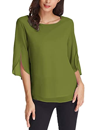 0c087df8567 Ladies Scoop Neck 3 4 Ruffle Sleeve Chiffon Blouse Tops Size S Army Green