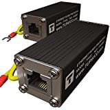 Ethernet Surge Protector PoE+ Gigabit GbE RJ45 Lightning Suppressor -LAN Network CAT5/CAT6 Thunder Arrestor -Gas Discharge Tube Protection -with Ground Cable - Tupavco TP302 (2 Pack)