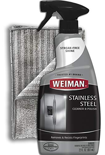 Weiman Stainless Steel Cleaner and Polish - 22 Ounces (Large Microfiber Cloth) - Appliance Surfaces Leave Behind A Brilliant Shine