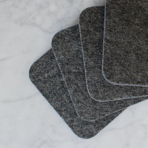 (Drink Coasters by FeltCoasters - Charcoal Gray Square - Wicks Away Moisture · Made in the USA · Set of 4 Charcoal Gray · Square Shape · 4 Inches Wide · 5mm Thick · 100% Satisfaction Guarantee)