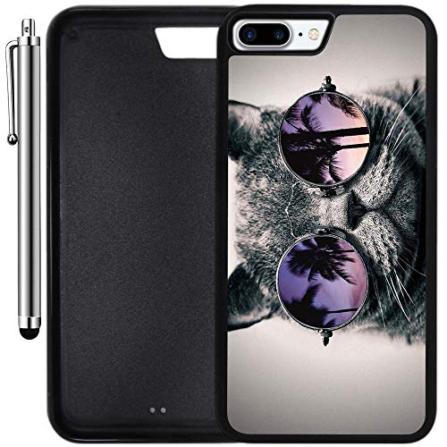 Custom Case Compatible with iPhone 8 Plus (5.5 inch) (Cali Cat Sunnies) Edge-to-Edge Rubber Black Cover Ultra Slim | Lightweight | Includes Stylus Pen by Innosub