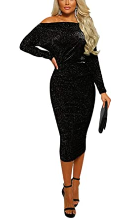 c4b8695caf0f ThusFar Aleng Women's Sexy Shiny Off Shoulder Long Sleeve Wrapped Bodycon  Party Evening Midi Dress Black