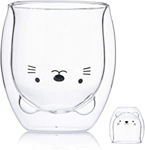Cute Mugs Glass Double Wall Insulated Glass Espresso Cup, Coffee Cup, Tea Cup, Milk Cup, Best gift for Office and Personal Birthday (Cat)