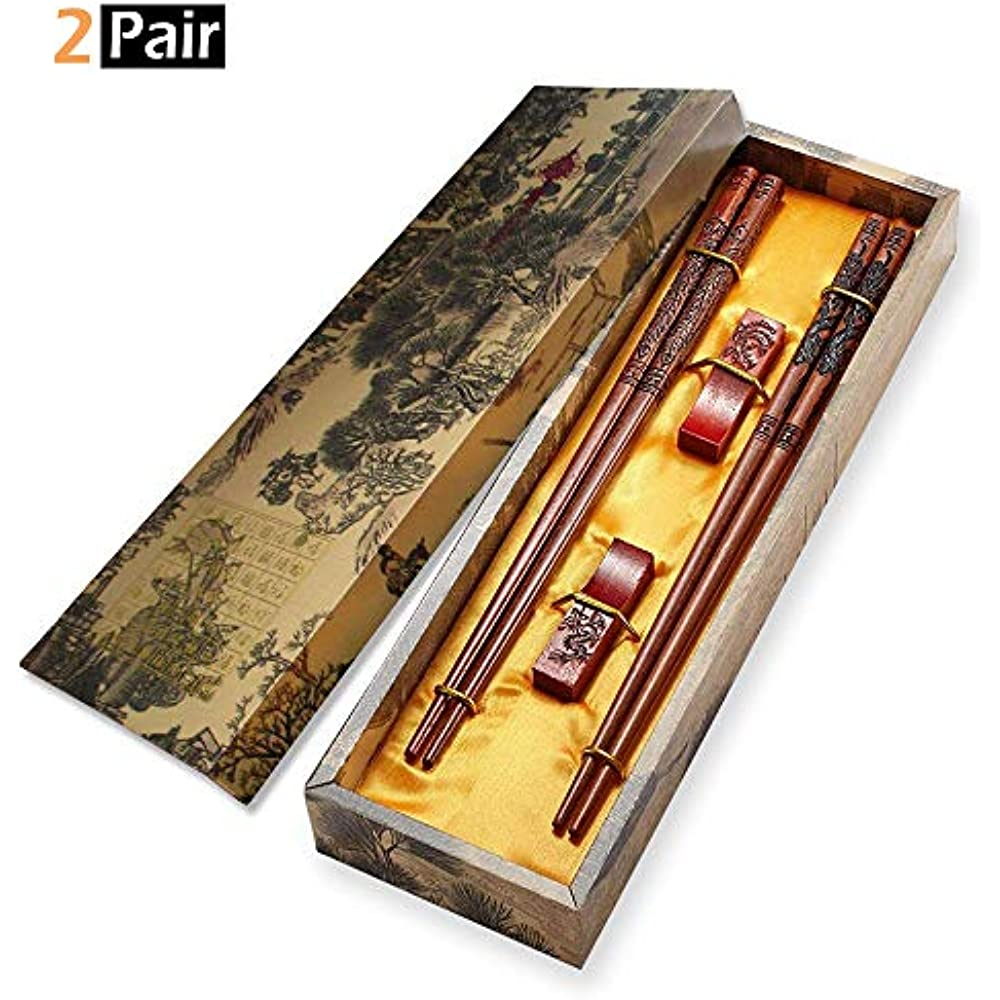 Chopsticks Reusable, Wooden With Engraved Dragon And ...