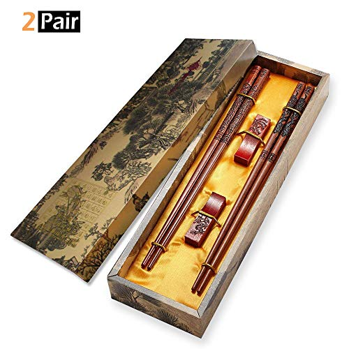 (Chopsticks Reusable, MHKBD Wooden Chopsticks with Engraved Dragon and Phoenix Chinese Dragon Chopsticks with Case, Holder and Carry Bag, Chopstick for Personal Use or Given as)