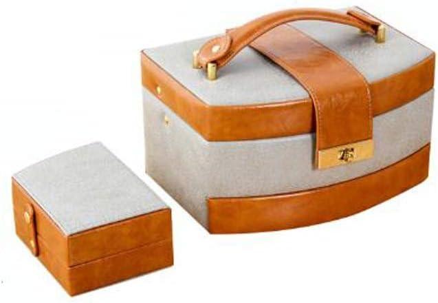 JHEY Cajas de joyería de Cuero 3 cajones con Espejo portátil de Pantalla de Viajes ewelry Anillo del Collar Pulsera Caja de Almacenamiento (Color : Orange)