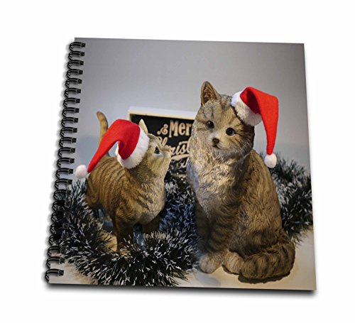 Figurines Santa Pencil (3dRose Sandy Mertens Christmas Animals - Christmas Cat Figurines with Santa Hats and Merry Christmas Sign Image - Memory Book 12 x 12 inch (db_269536_2))